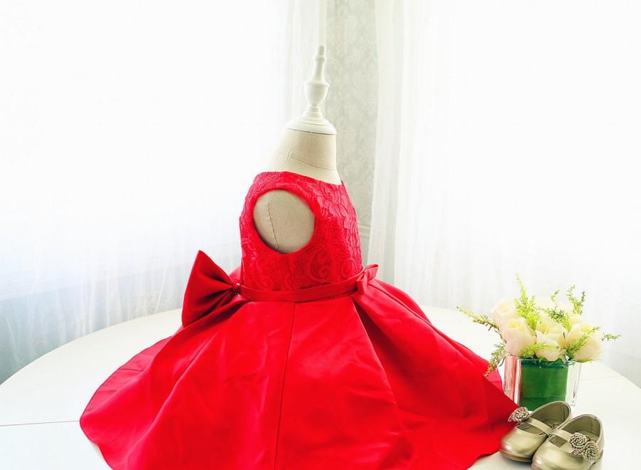6d5072999f86 Red Sleeveless Flower Girl Dress, Toddler Christmas Dress, Infant Baby  Thanksgiving Dress, Baby Girl Birthday Dress, PD101-2