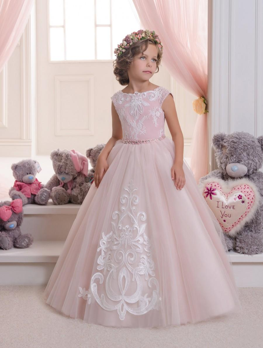 Blush Pink Lace Tulle Flower Girl Dress Wedding Party Holiday