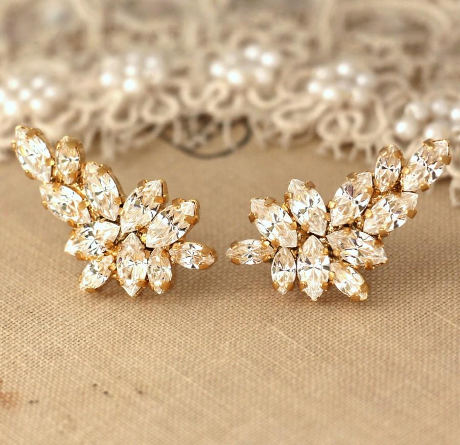 Hochzeit - Bridal earrings,Swarovski White Crystal Climbing earrings,Bridal Cluster Earrings,Swarovski Bridal earrings,White Crystal Vintage Earrings