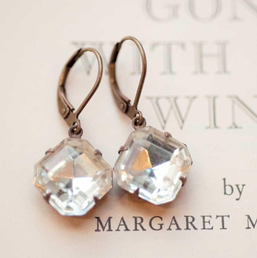 Свадьба - Clear crystal dainty estate style vintage earrings, Dangle Drop Earrings - Hepburn