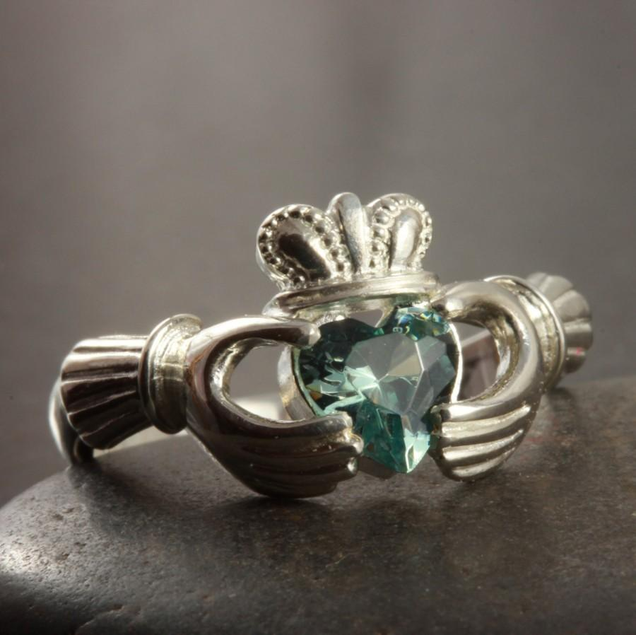 Mariage - Aquamarine color CZ claddagh ring in Sterling silver