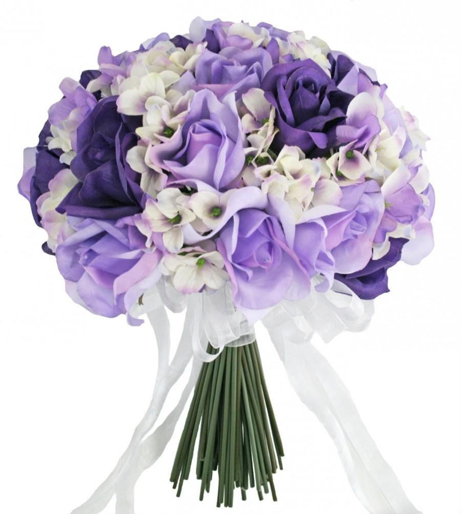 Hydrangea Rose Purple Lavender Hand Tie Large - Silk Bridal Wedding ...