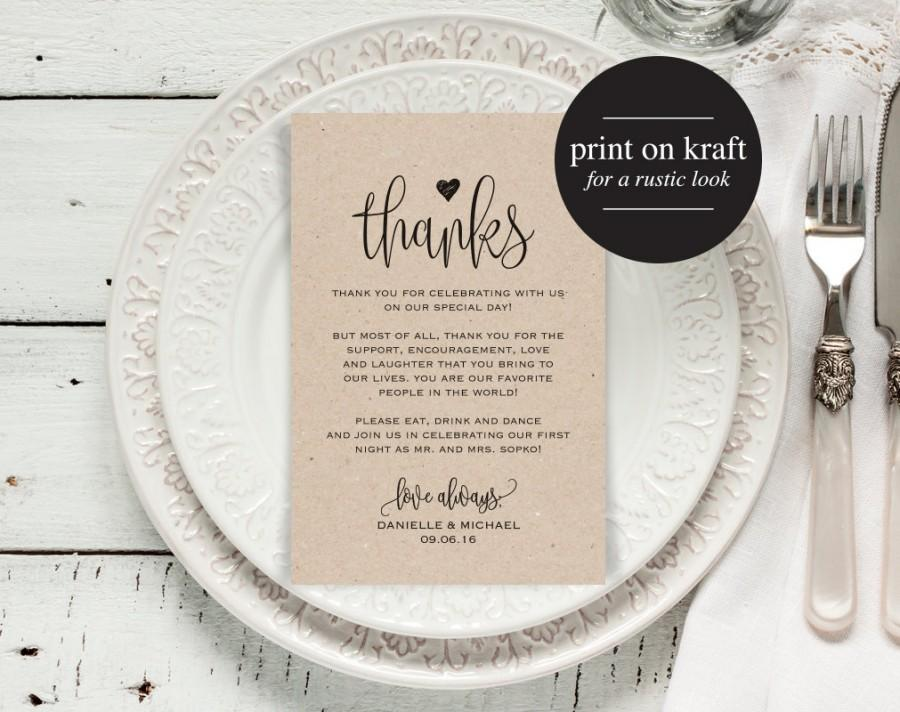 Wedding Thank You Cards, Thank You Printable, Editable Template, Kraft Printable, DIY, Printable