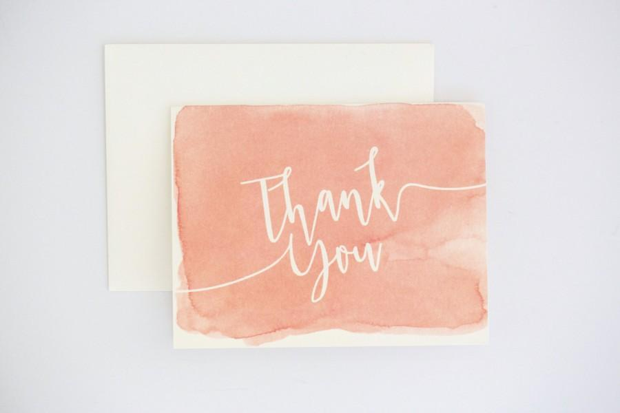 Unique Thank You Cards watercolor thank you cards - coral ombre modern design with unique