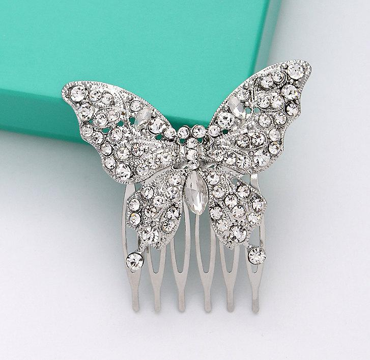 Butterfly Hair Comb Bridal Hair Piece Rhinestone Silver Butterfly