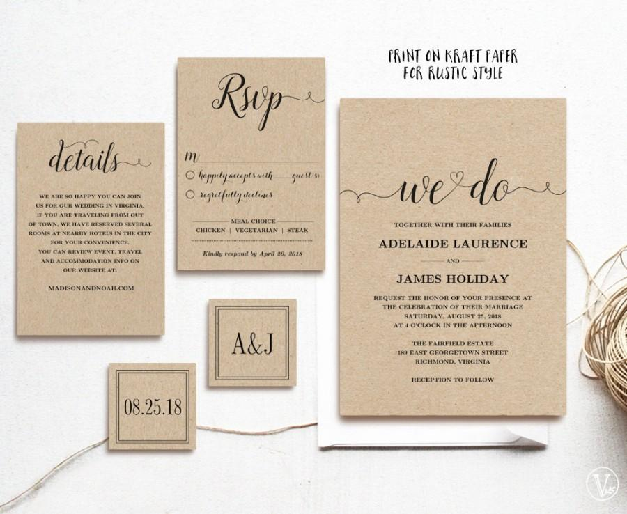 Rustic Wedding Invitation Template 5 Piece Printable Kraft Editable Text Instant