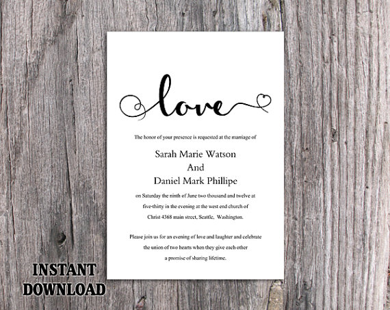 DIY Wedding Invitation Template Editable Word File Instant - Diy photo wedding invitations templates