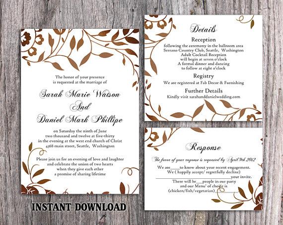 DIY Wedding Invitation Template Set Editable Word File Instant ...