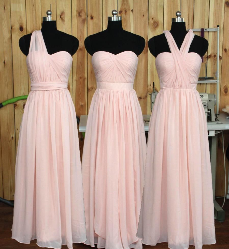 Mariage - Convertible Blush Bridesmaid dress, Wedding Party dress, Formal dress, Prom Dress, Convertible Evening dress floor length