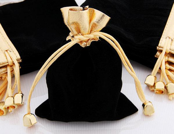 Mariage - 10 Black Velvet Drawstring Jewelry Gift Pouches Bags MH65