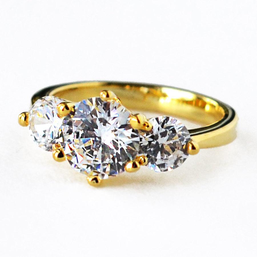 Свадьба - engagement ring, wedding ring, cz ring, cubic zirconia engagement ring, three stone, anniversary ring size 5 6 7 8 9 10 - MC105906G1AZ