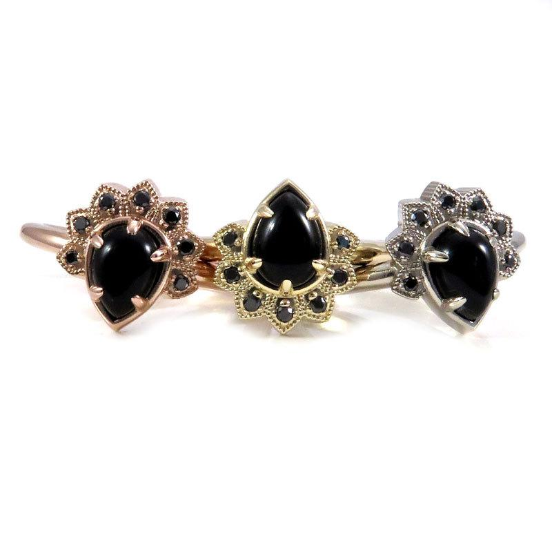 Свадьба - Black Lace Pear and Black Diamond Modern Crown Ring - Rose, Yellow or White Gold Engagement Ring