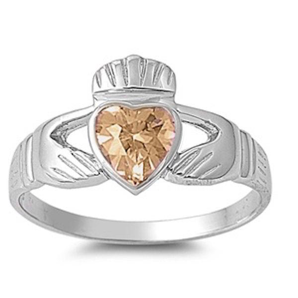زفاف - Solid 925 Sterling Silver 0.80 Carat Heart Shape Bezel Set Champagne Amber CZ Irish Dublin Claddagh Fidelity Promise Ring