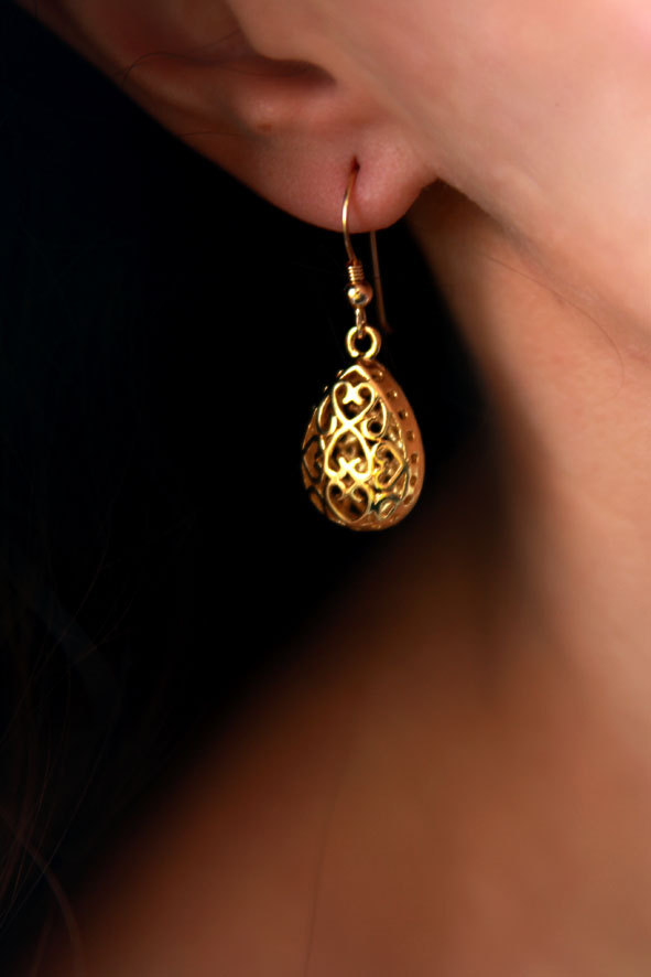 زفاف - Drop earrings, gold earring, dangle earring, 14k earrings, teardrop earrings, gold teardrop earrings