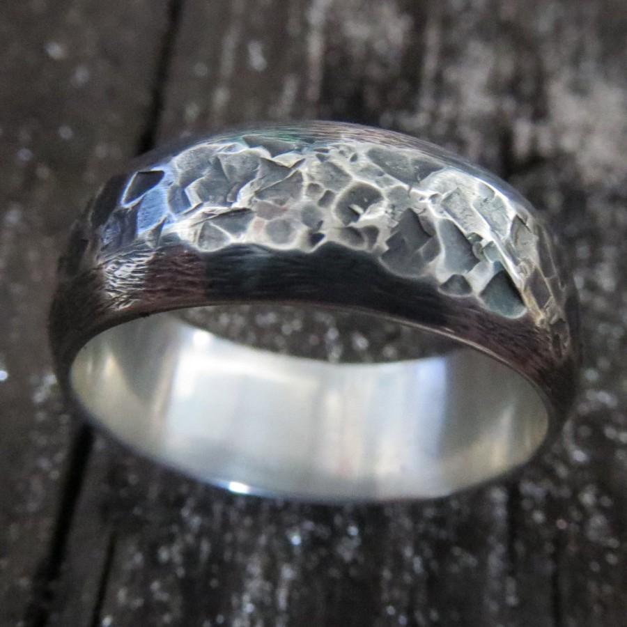 زفاف - Mens Ring Wedding Oxidized Sterling Silver Unusual Two Texture Steampunk Band 8mm Design 0102