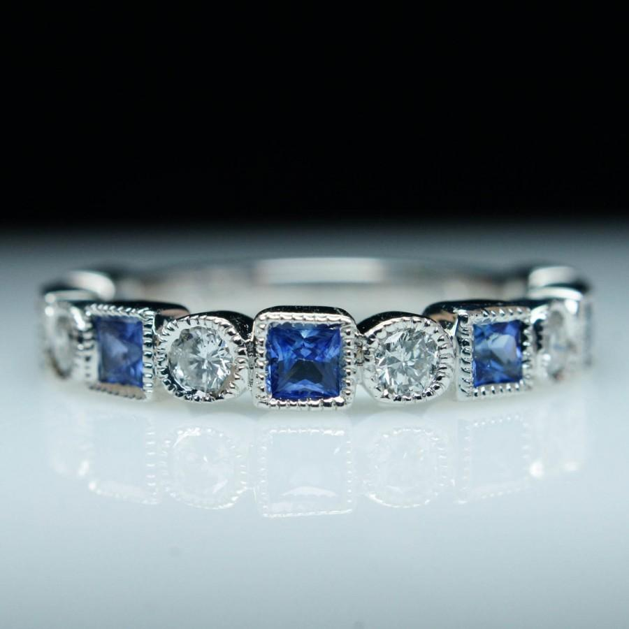 Свадьба - Gorgeous .30ct Diamond & .55ct Square Sapphire Wedding Band Ring 14k White Gold Diamond Band Wedding Ring Stackable Bands