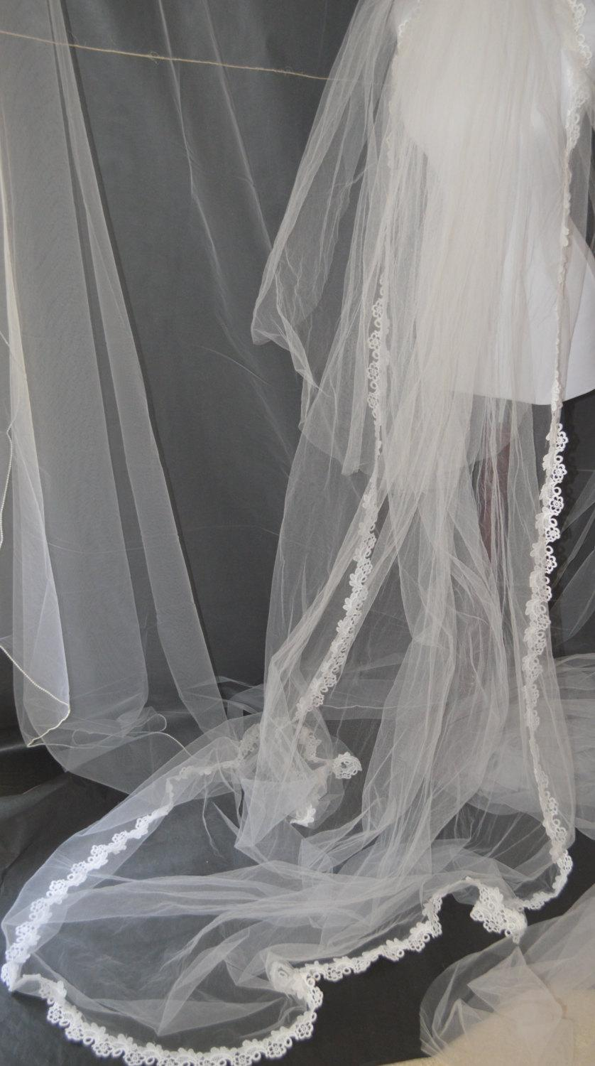 """Mariage - Cathedral Length White Tulle Veil Flower Trim 3-Tier 94 """" Long Blusher Comb Custom Order"""