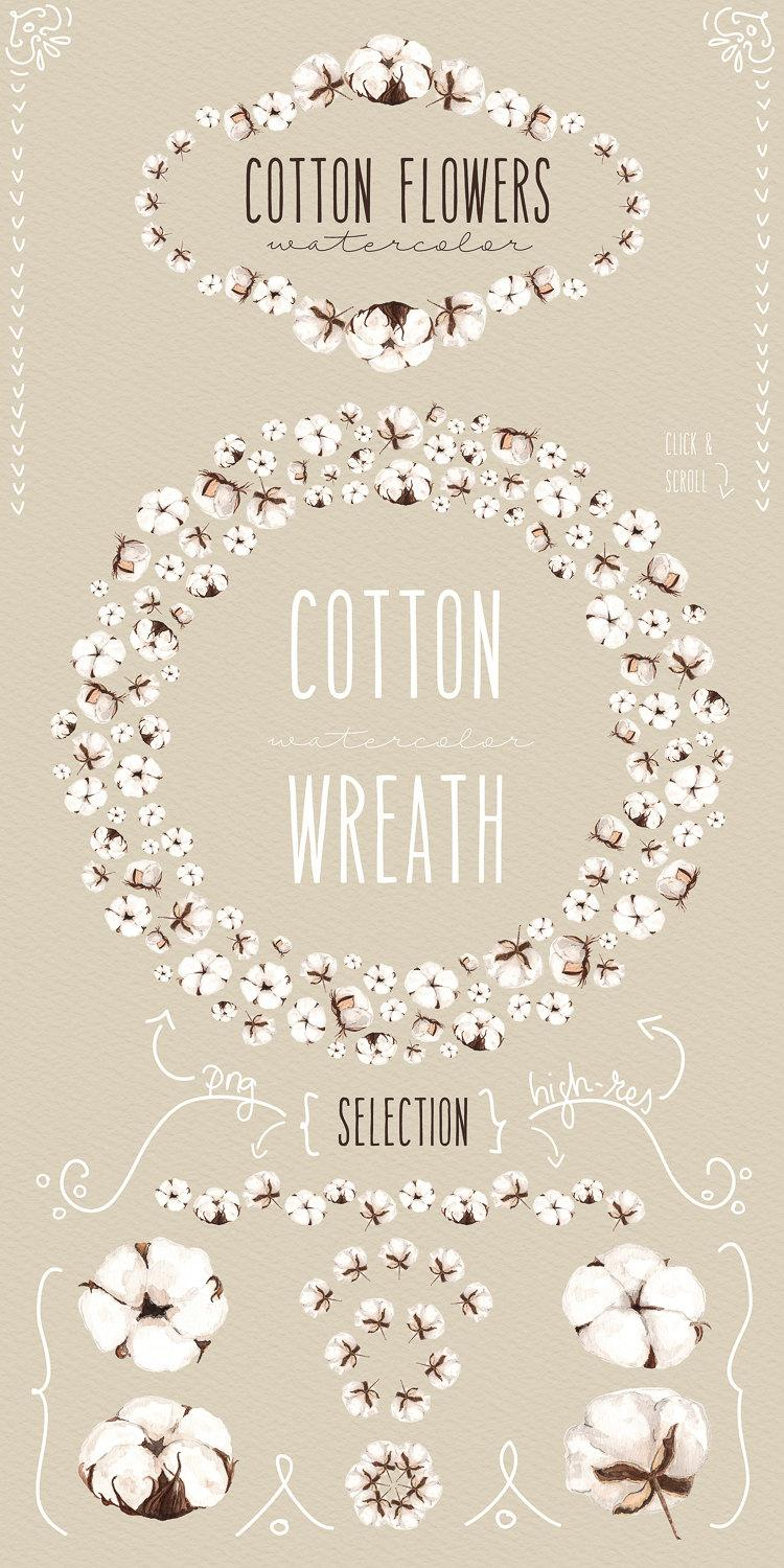 Mariage - Cotton flowers watercolor collection clipart