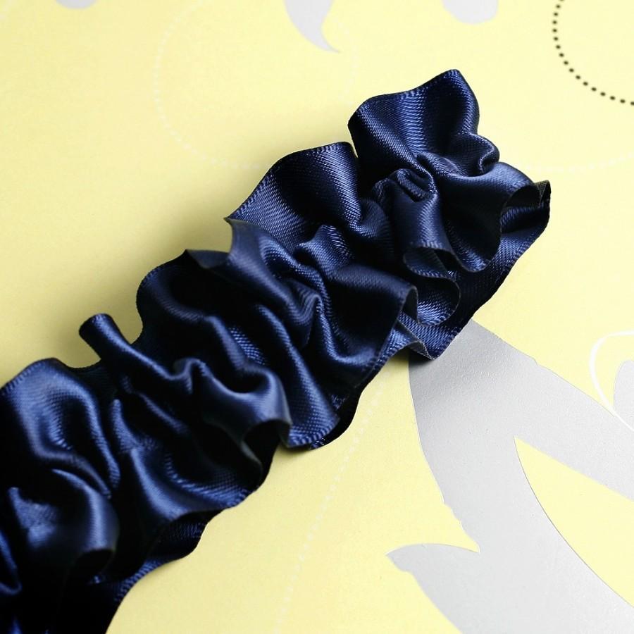 Hochzeit - Wedding Garter , Bridal Garter, Boudoir Garter - Simple Navy Blue Garter SINGLE