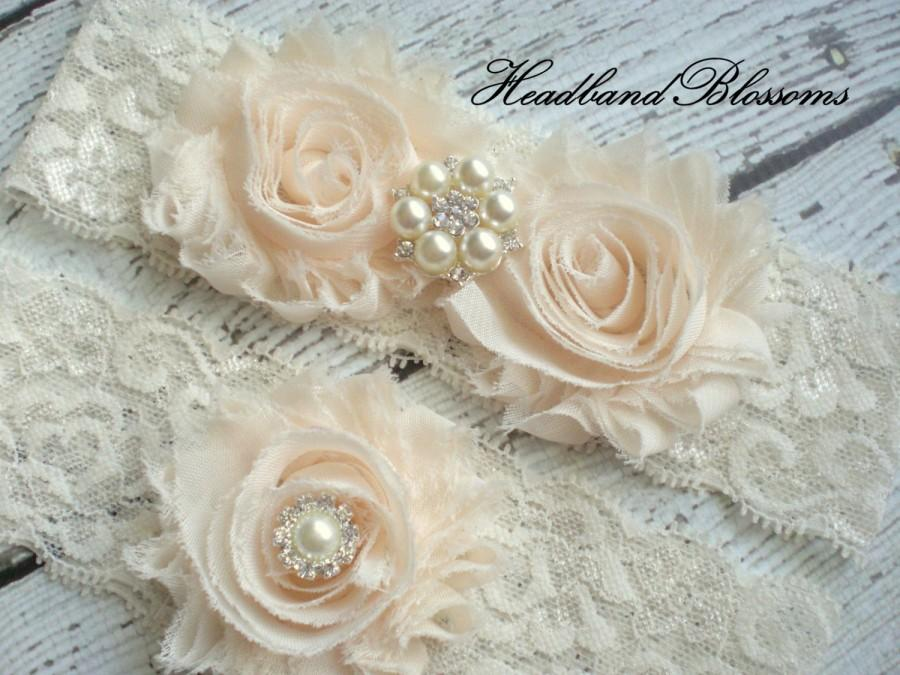 Hochzeit - Beautiful CREAM Bridal Garter Set - Ivory Keepsake & Toss Wedding Garter - Chiffon Flower Rhinestone Lace Garters - Vintage Garter - Garder