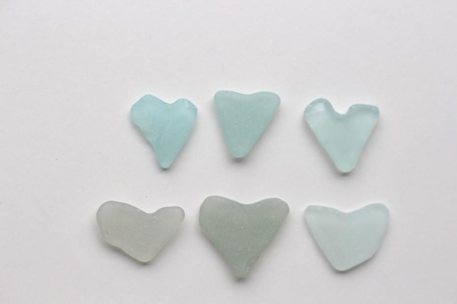Wedding - Cute Sea Glass Heart Family Beach Glass Hearts 6 pcs Beach Hearts