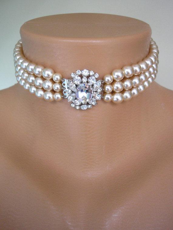 Mariage - Pearl Choker, Wedding Pearl Necklace, Bridal Jewelry, Statement Necklace, Great Gatsby Jewelry, Rhinestone Choker, Art Deco, Downton Abbey