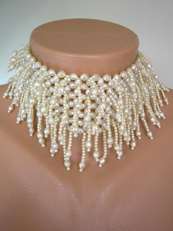 Nozze - Pearl Choker, Bridal Statement Necklace, Pearl Necklace, Wedding Pearls, Great Gatsby, Vintage, Roaring 20s, 1920s, Beaded, Fringe, Flapper