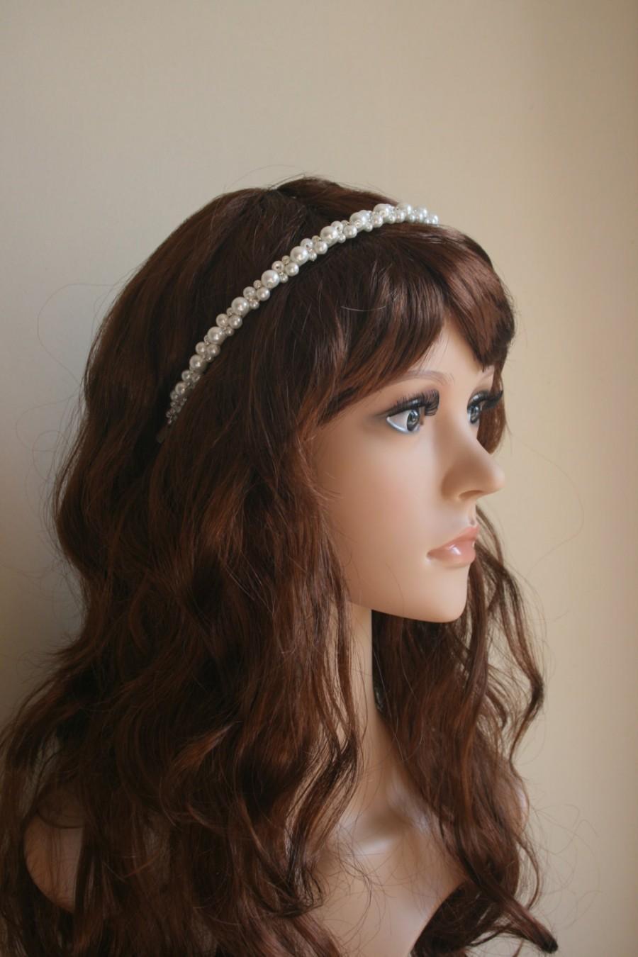 Свадьба - Pearl Headband, Pearl Hairpiece, Pearl Headpiece, Bridal Hair Accessory, Wedding.