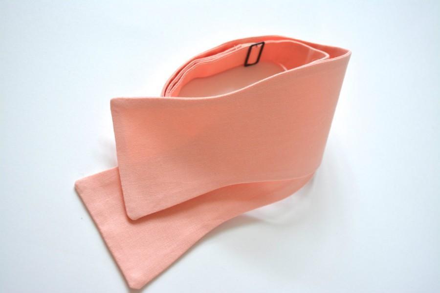 Hochzeit - Peach bow tie for Men, peach color bow tie for men, cotton bow tie, ready tie peach bow tie, self tie bow tie
