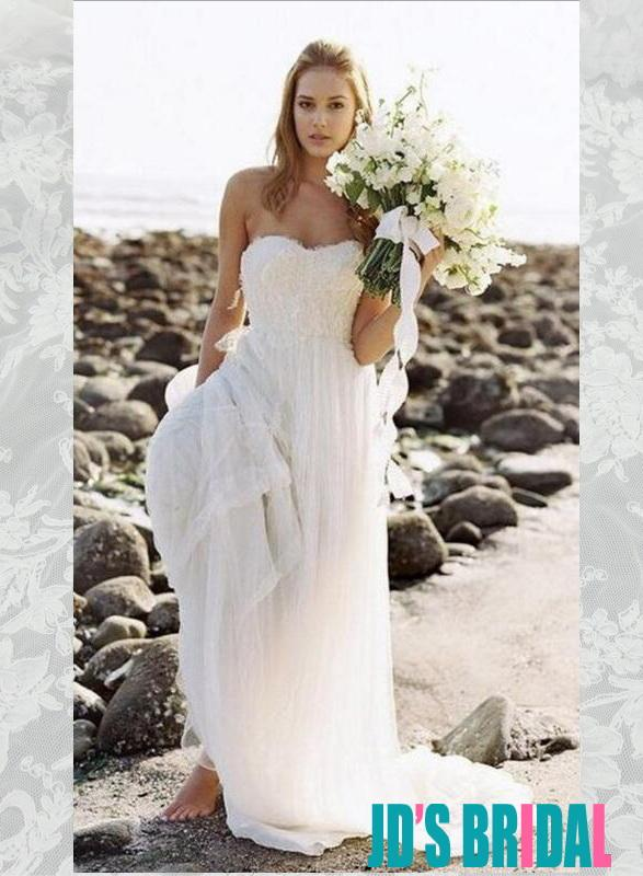 Boda - H1666 Sweetheart simple beach white column wedding dresses