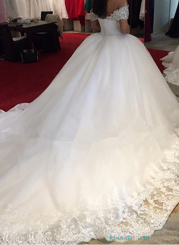 Fairytale Sparkly Off Shoulder Princess Wedding Dresses Ball Gowns