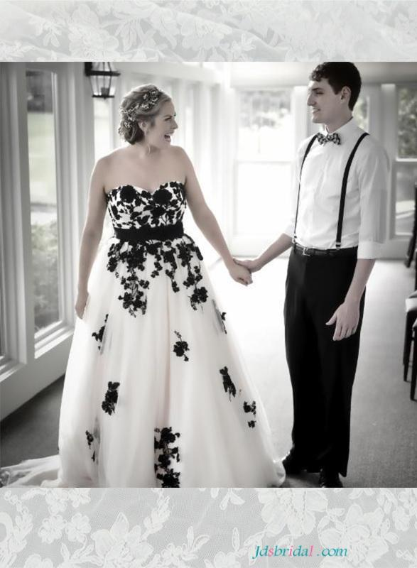 Wedding - Beautiful black and white plus size wedding dresses