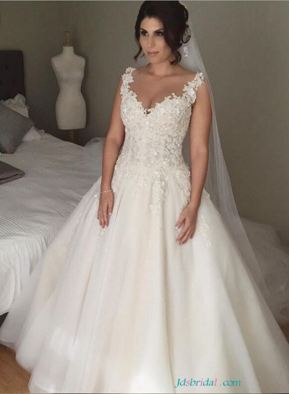 Beautiful Florals Illusion Lace Tulle Wedding Dresses 2494227
