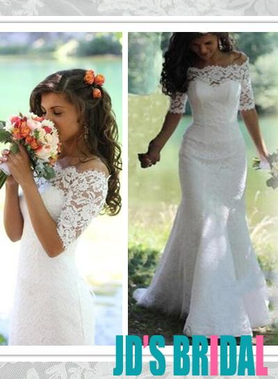 Mariage - Lace bateau neck mermaid wedding dress with sleeves