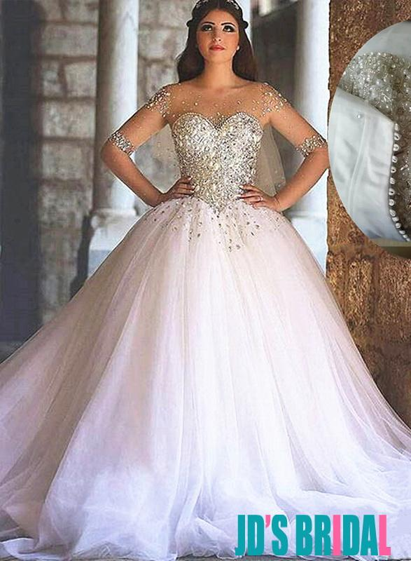 Sparkly sweetheart tulle princess wedding dresses 2494235 for Sparkly wedding dresses with sleeves