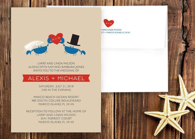 Wedding - Crab Wedding Invitation Suite