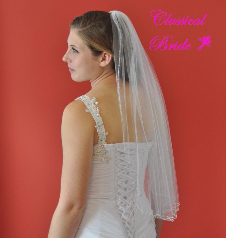 زفاف - FIFI -- Round Pearl & Silver Bead Elbow Veil 1 Tier 30 Inch in White, Diamond White, or Ivory Tulle, custom handmade wedding bridal veil