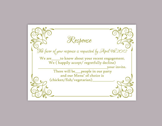 Wedding - DIY Wedding RSVP Template Editable Text Word File Download Printable RSVP Cards Olive Green Rsvp Card Template Enclosure Cards