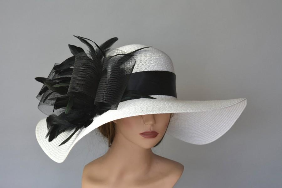 Свадьба - Off White Black Church Wedding Hat Kentucky Derby Hat White Bridal Coctail Hat Woman Hat Fascinator  Bridal Hat
