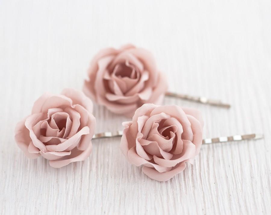 Blush Pink Hair Flower Or Brooch Bridal Wedding: 72_Blush Wedding Hair Pin, Pink Rose Hair Pin, Bridal