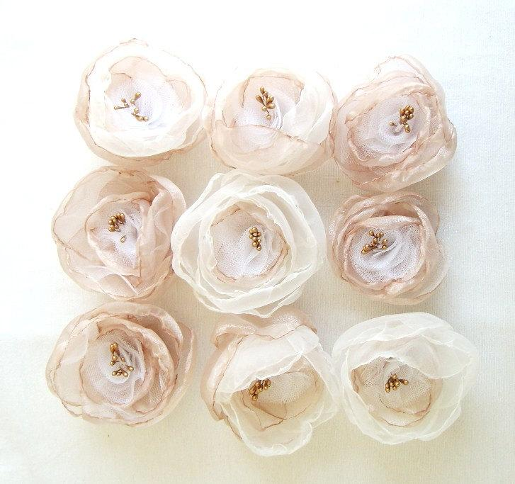 Mariage - Bridesmaid Hair Accessories Hair Clips Set of 9 Champagne Gold Ivory White Organza Flowers Weddings Fairytale Flower Hair Accessories