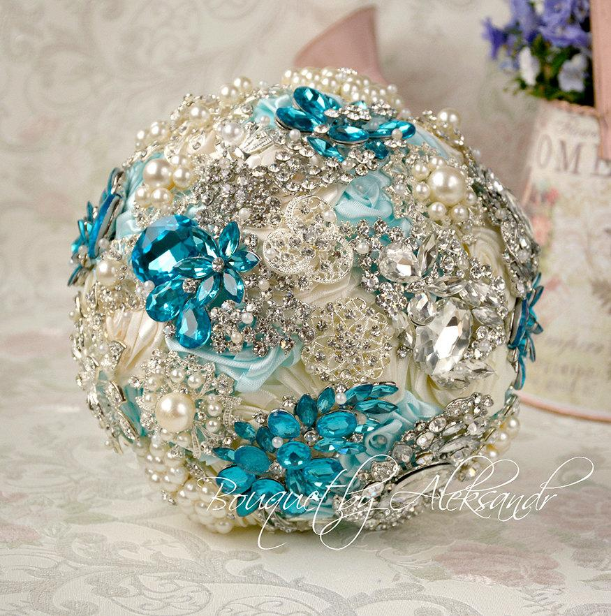 Mariage - Wedding Bouquet, Brooch Bouquet, Turquoise Bouquet, Rhinestone Bouquet, Light Blue and Mint Ivory Bouquet, Silver Bouquet, Cristal Bouquet