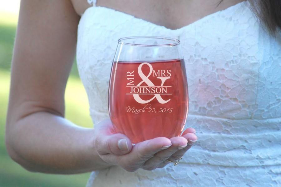 2 etched wedding glasses mr and mrs stemless wine glasses his and hers gift ampersand couples gift bridal shower wine glasses