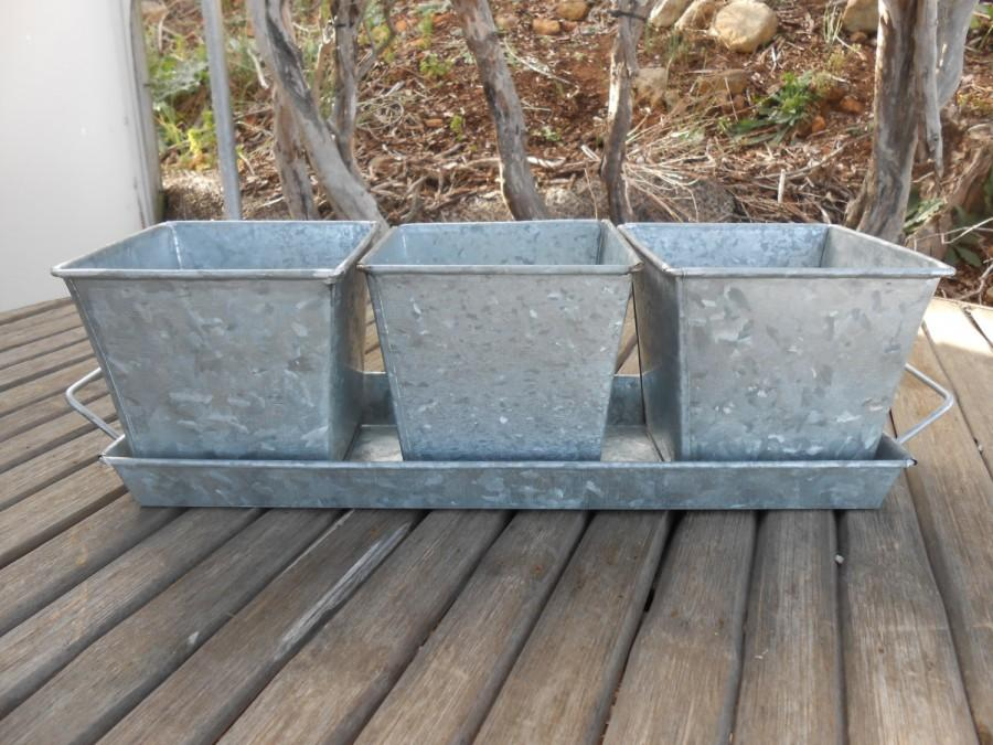Mariage - Rustic Galvanized Tin 4 Piece Centerpiece Planter, Great For Barn Wedding, Rustic,Planting Succulents, Herb Pots