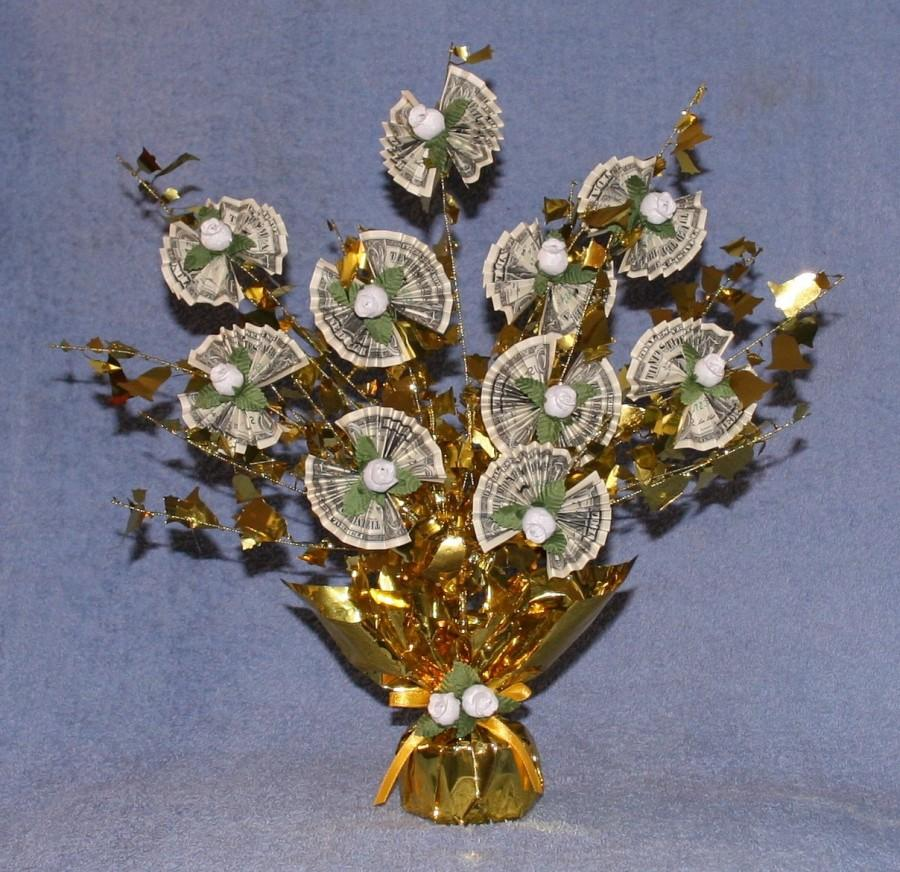 Hochzeit - Sparkling MONEY TREE with REAL dollar bills ... a unique Centerpiece or Gift for Graduation, Anniversary, Wedding or Birthday