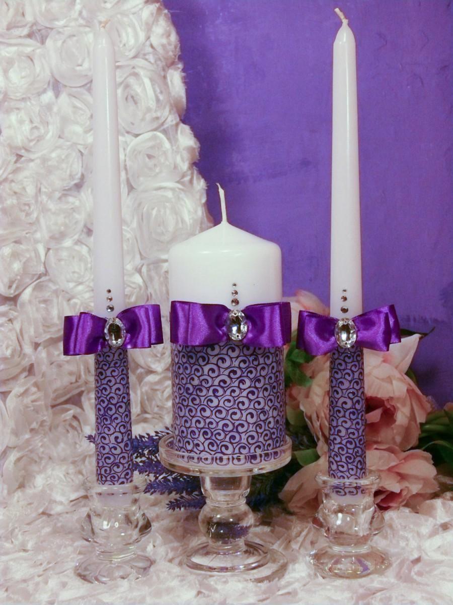 Hochzeit - Sale! Special Price! Purple Wedding Unity Candle candle handmadeLace WeddingPurple Weddingpersonalization wedding pillar candle/3pcs/