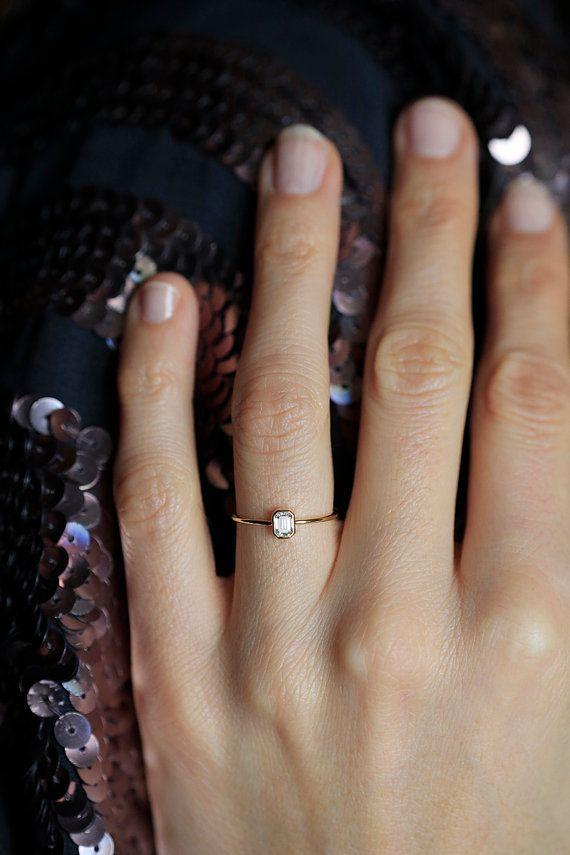زفاف - Emerald Cut Diamond Ring, Emerald Cut Engagement Ring, 18k Solid Gold
