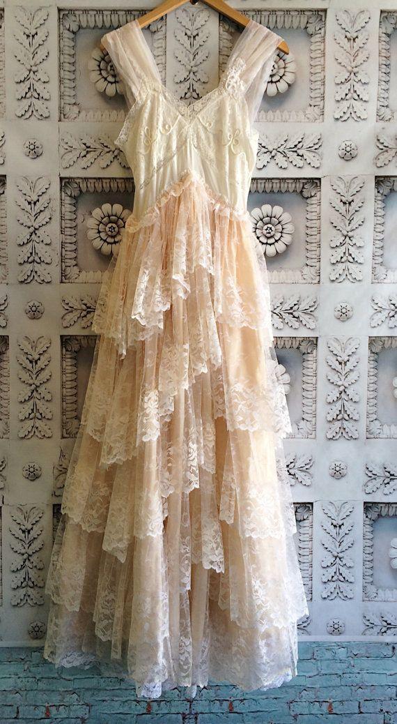 White Blush Tiered Lace Ruffled Boho Wedding Dress By