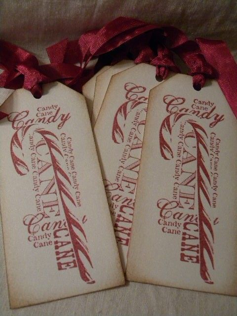 Mariage - Handmade Gift Tags-Candy Canes