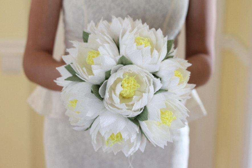 Wedding Flower Lotus Bouquet Water Lily White Lotus Rustic Flowers